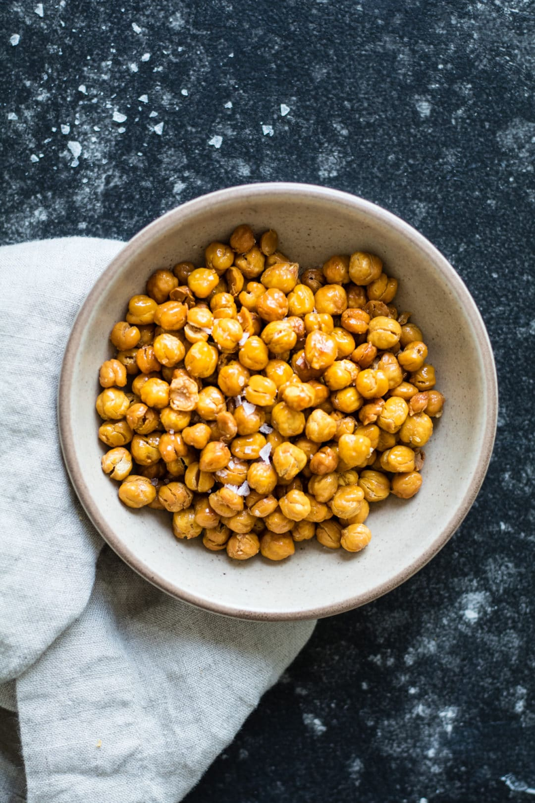 Roasted Chickpeas with Salt - perfect snack or top on salads! krollskorner.com
