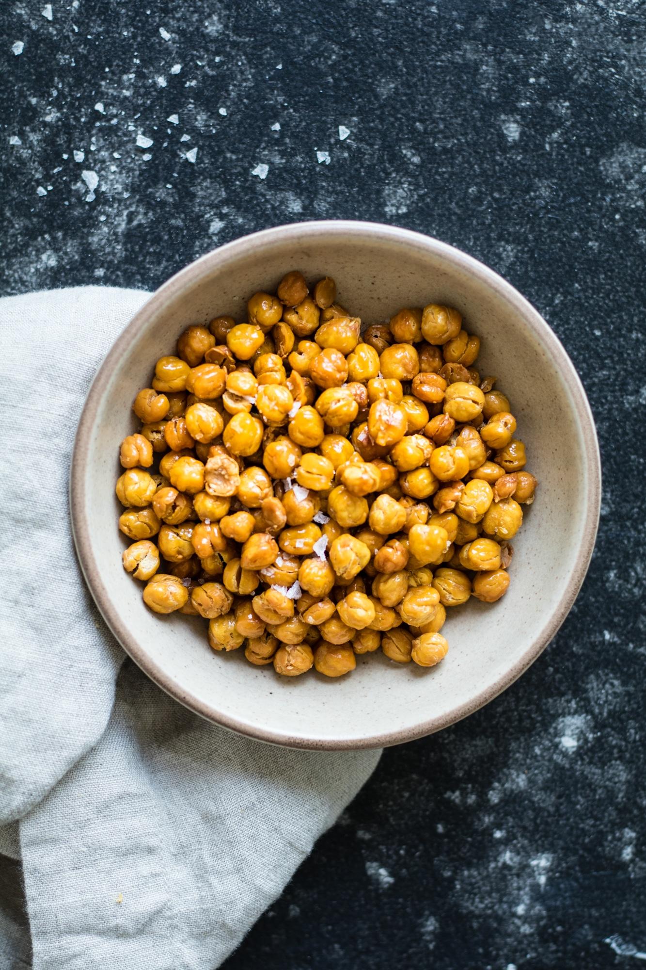 Roasted Chickpeas with Salt - perfect snack or top on salads! krollskorner.com