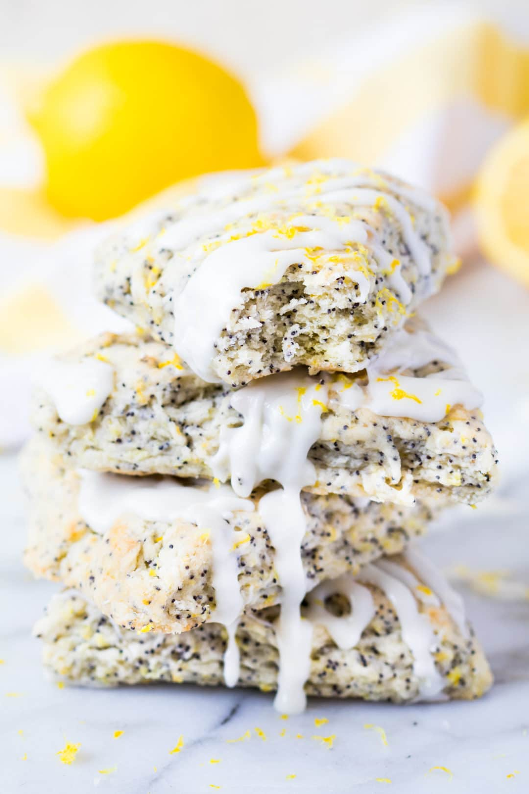 As you bite into these lemon poppyseed scones, the glaze will leave flavors of lemon dancing on your tongue as you bite into the lovely flavor of these baked goods! krollskorner.com