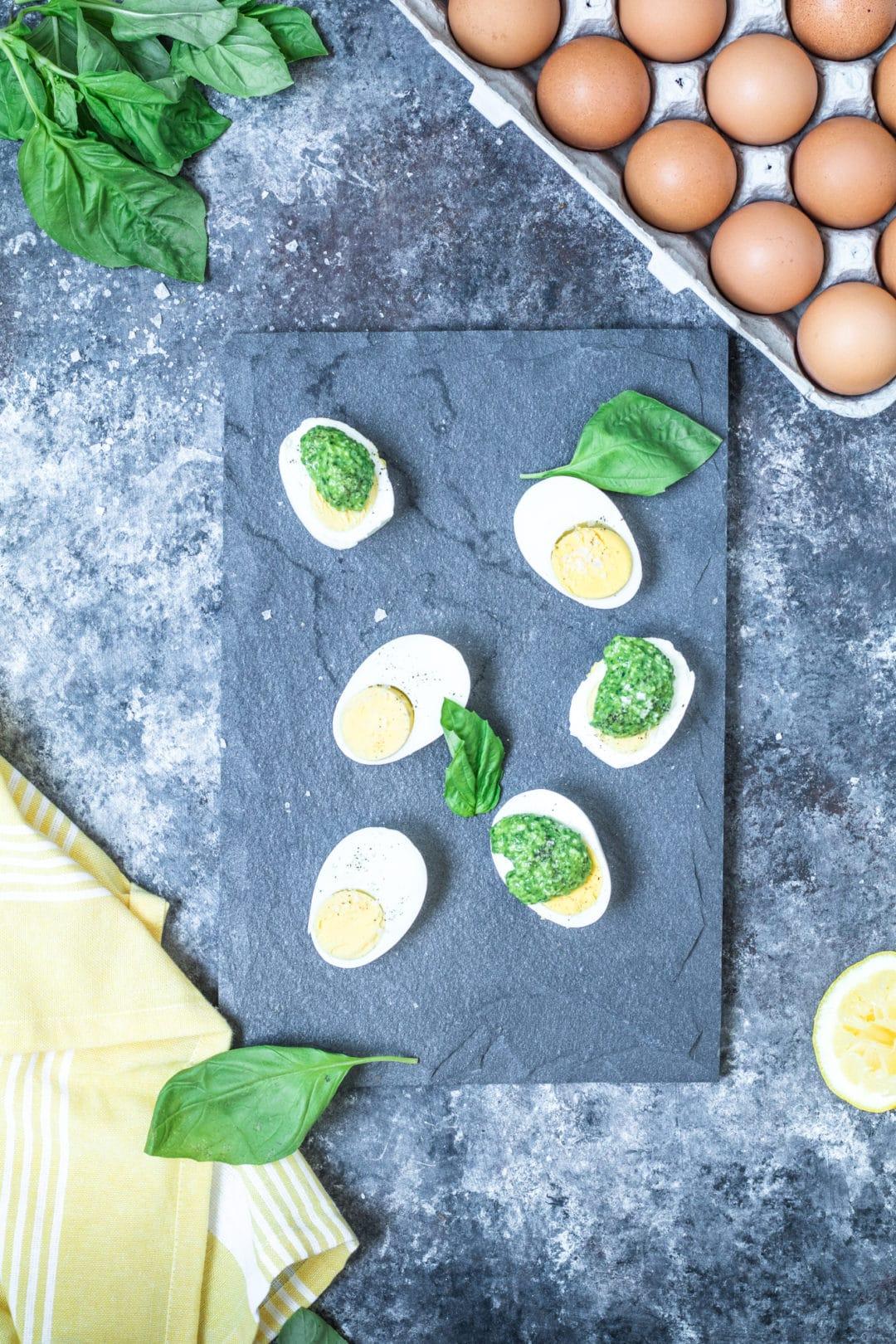 Parmesan Pesto Over Eggs - perfect for Easter or any Spring time occasion! #krollskorner #spring #easter #pesto