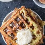 Zucchini Parmesan Waffles are a delicious way to celebrate National Waffle Day today!krollskorner.com