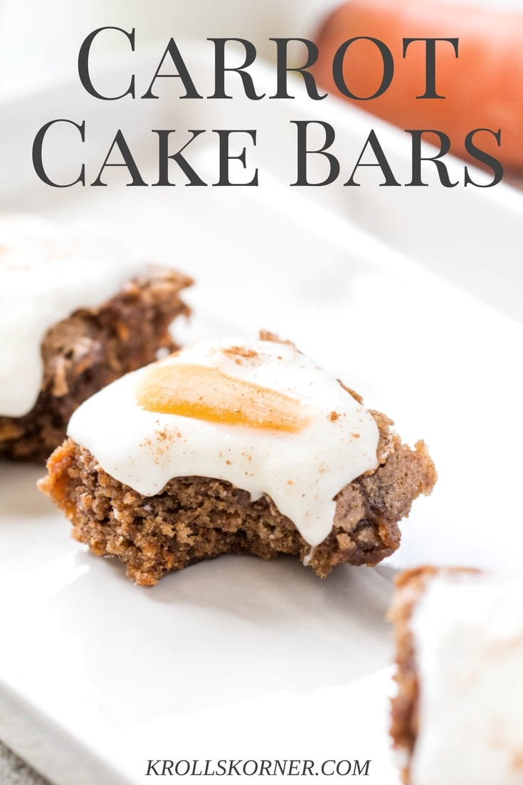 Carrot Cake Bars - delicious and tasty treat full of flavor! |Krollskorner.com