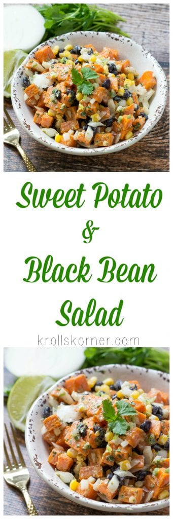 Sweet Potato and Black Bean Salad is perfect for Meatless Monday or, any day of the week to be honest! Simple, easy, and nutritious - what else could you ask for? |Krollskorner.com
