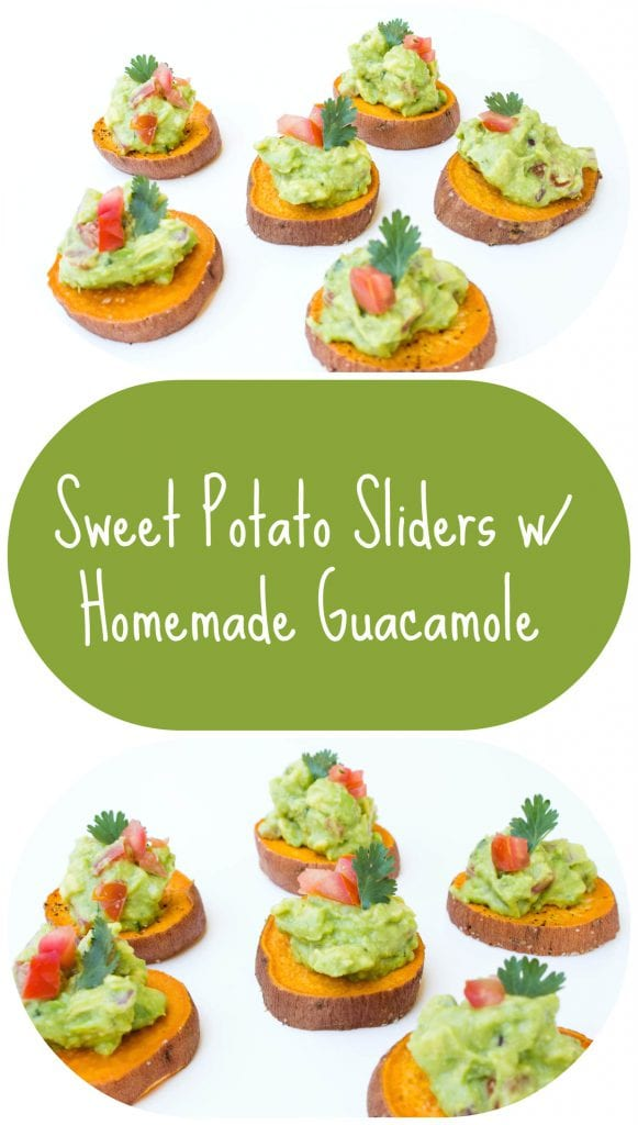 Sweet Potato Sliders with Homemade Guacamole! http://krollskorner.com/recipes/sweet-potato-sliders-with-homemade-guacamole/