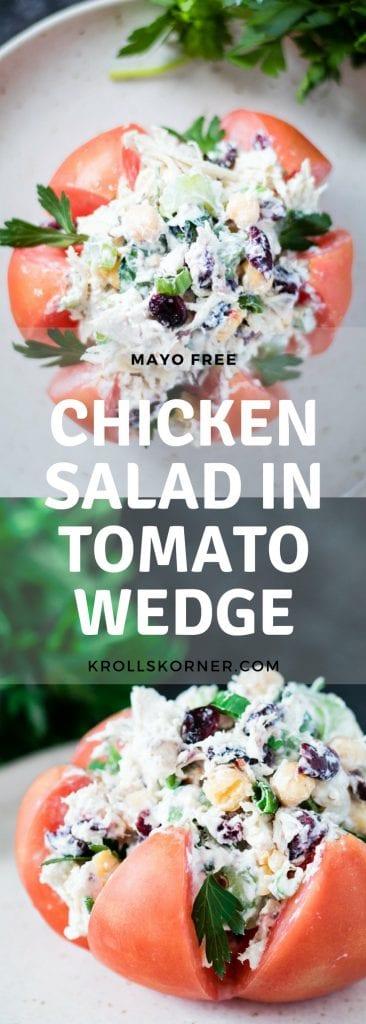 Refreshing, mayo-free Greek Yogurt Chicken Salad in a Tomato Wedge! #lowcarb #mayofree #yum #krollskorner || krollskorner.com ||