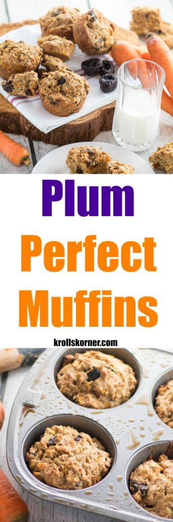 Plum Perfect muffins, a delicious and healthy treat for breakfast with your coffee or to enjoy as a dessert! |Krollskorner.com