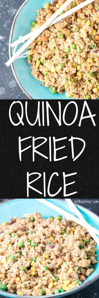 Quinoa Fried Rice is a fun alternative to the typical fried rice and will give you a boost of protein and fiber! Krollskorner.com