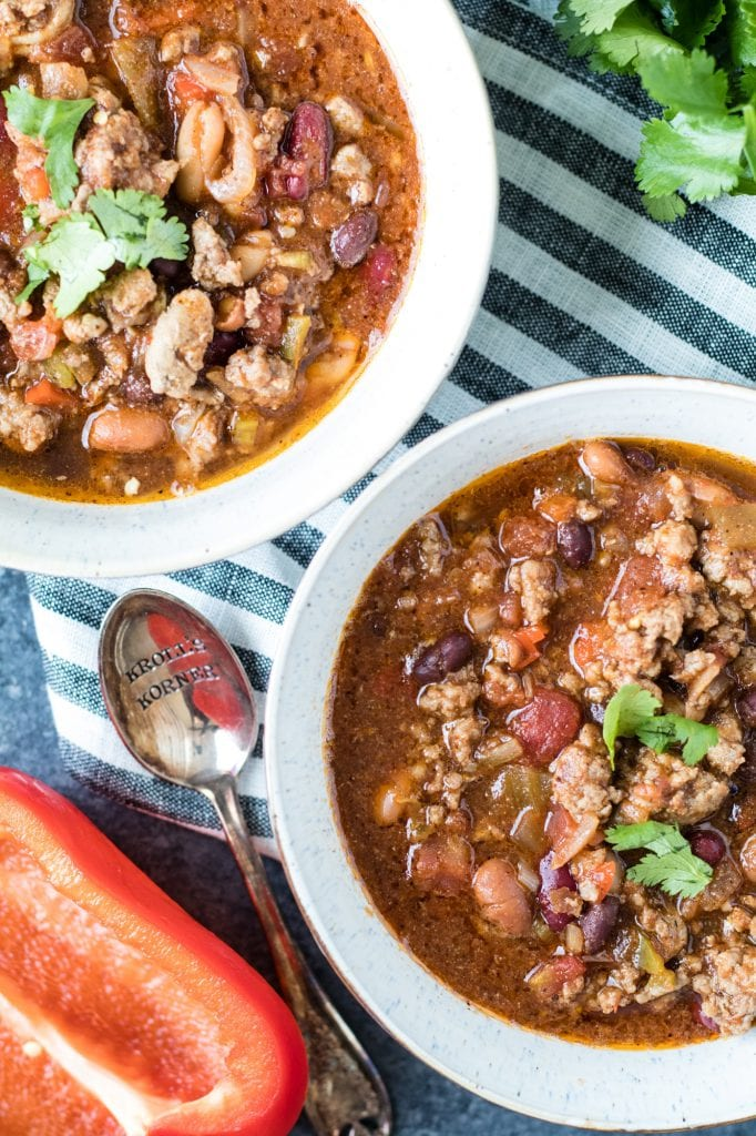 4 bean Spicy Crock Pot Chili - full of flavor and SPICE! krollskorner.com