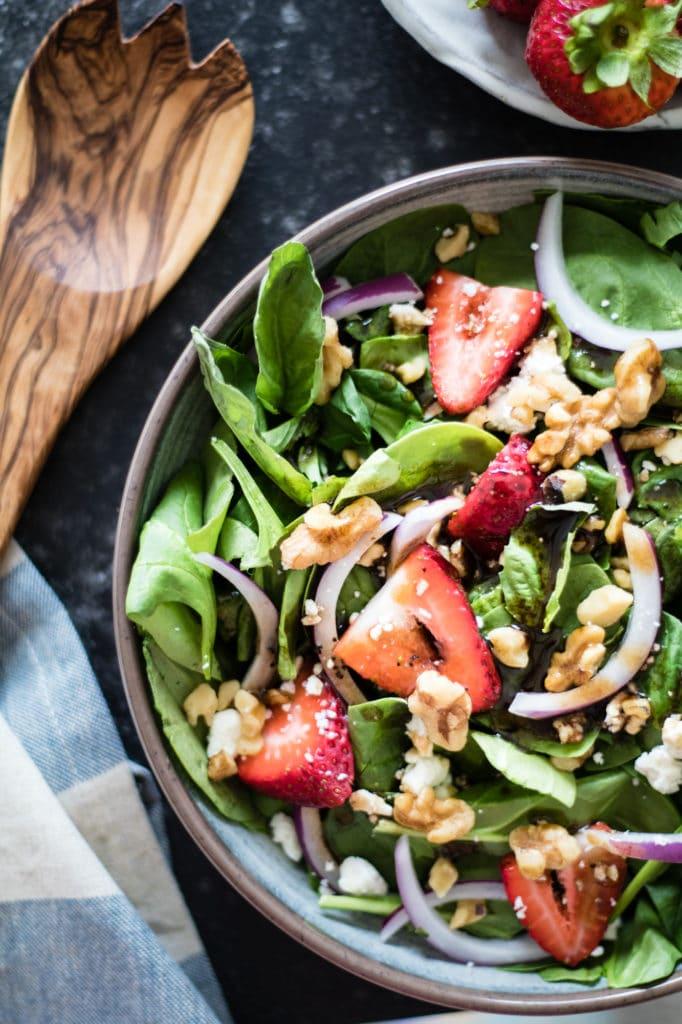Strawberry Basil Salad - refreshing and perfect for Summer! krollskorner.com