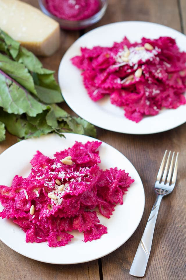 beet pesto pasta on a white plate