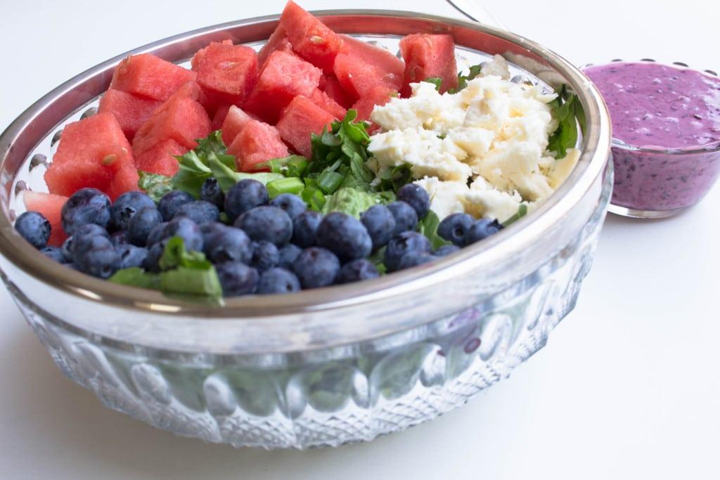Watermelon Feta Salad w/ Chobani Greek Yogurt Blueberry Vinaigrette - Krollskorner.com