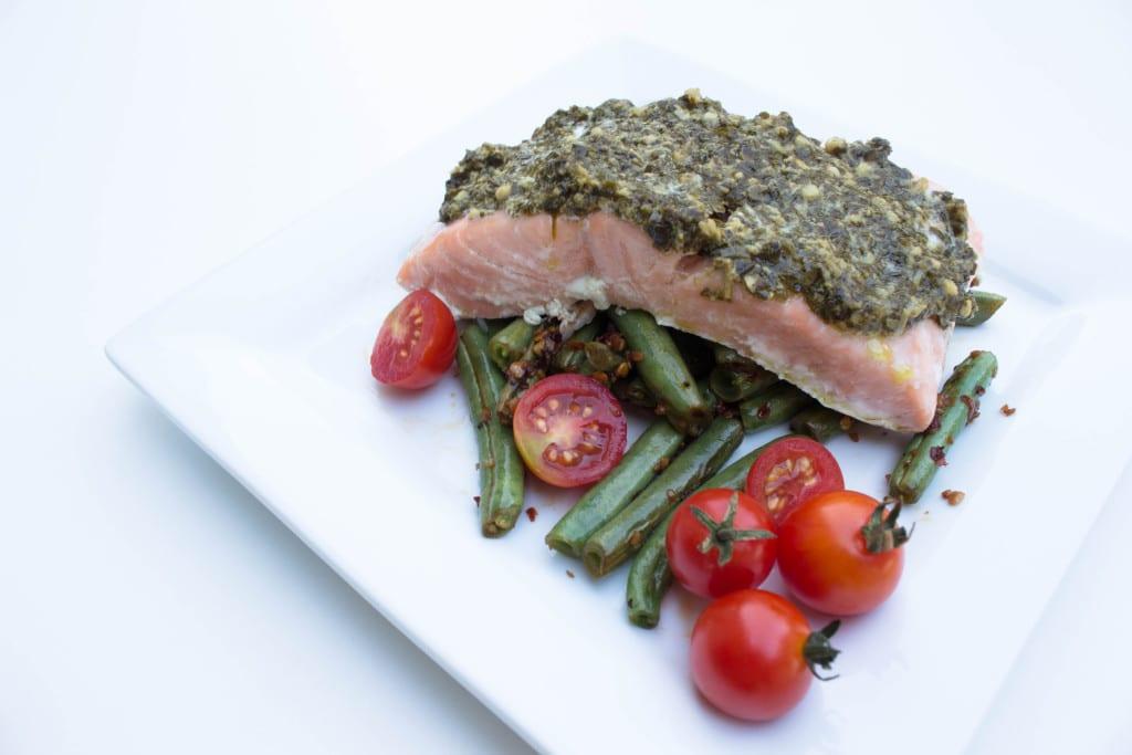 2 Ingredient Pesto Salmon - Krollskorner.com