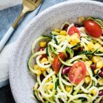Zucchini and Corn Salad with a delicious 5 ingredient vinaigrette dressing! #easy #summer #salad #healthy #summersalad krollskorner.com