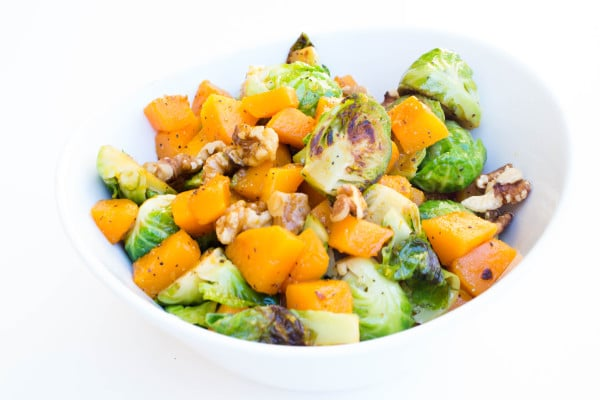 Brussels Sprouts and Butternut Squash with Citrus Vinaigrette - SO YUMMY!! Krollskorner.com