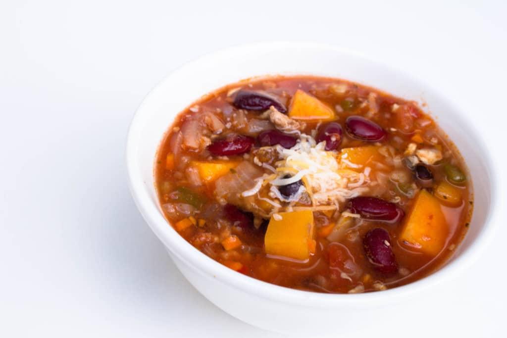 butternut squash chili in a white bowl