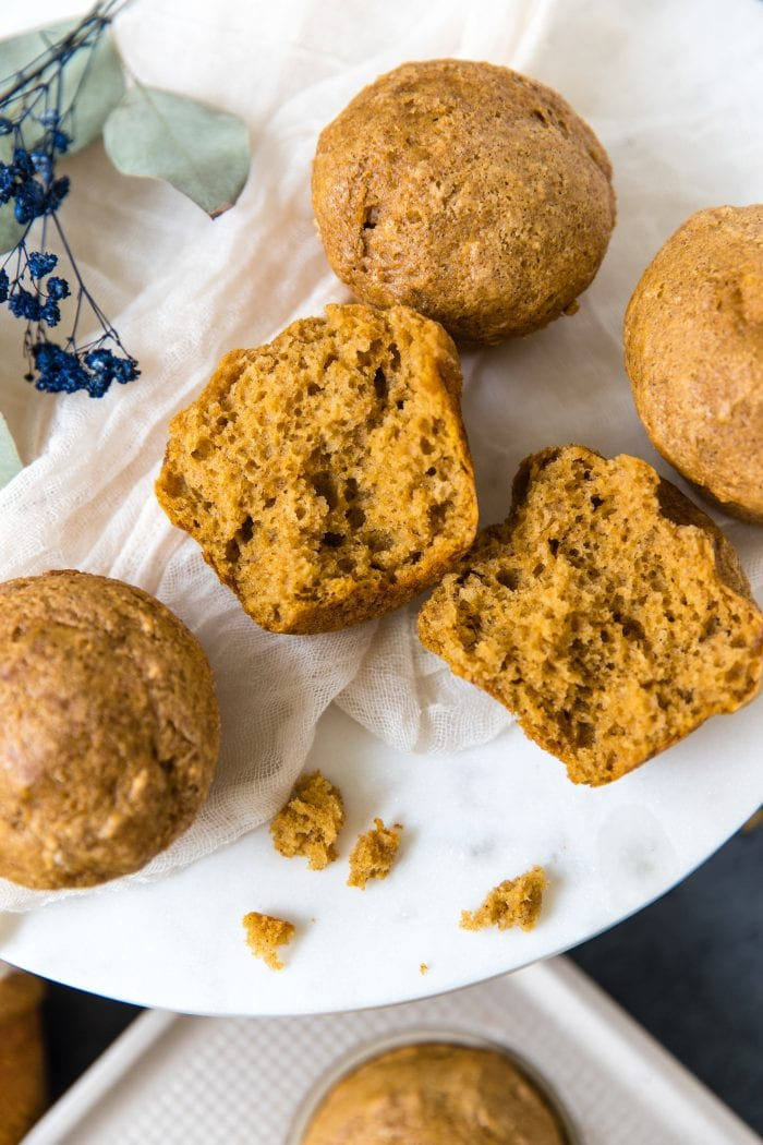 Pumpkin Spice muffins on a marble board