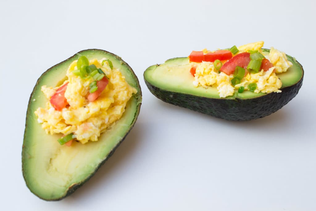 Avocado Topped with Cheesy Scrambled Egg - krollskorner.com