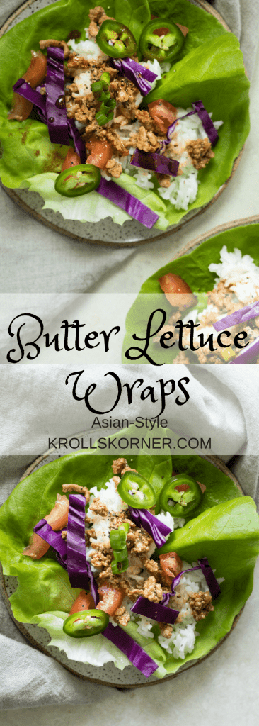 butter leaf lettuce filled with white rice and ground turkey