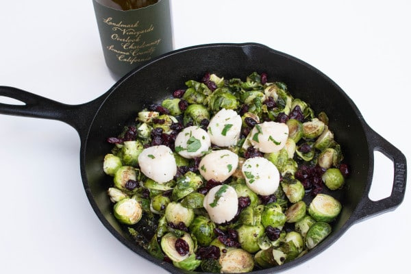 Lemon Butter Scallops & Brussels Paired w/ Landmark Chardonnay - Delicious recipe found on krollskorner.com