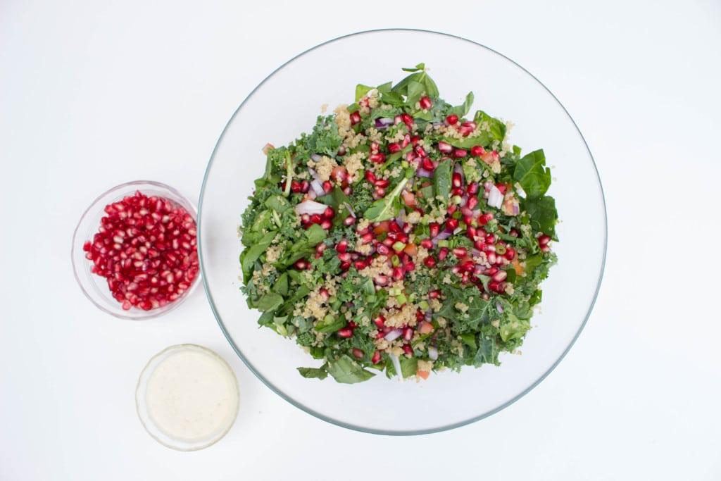 Kale Quinoa Salad with Fresh Pear Dressing - Perfect Fall salad!! Krollskorner.com
