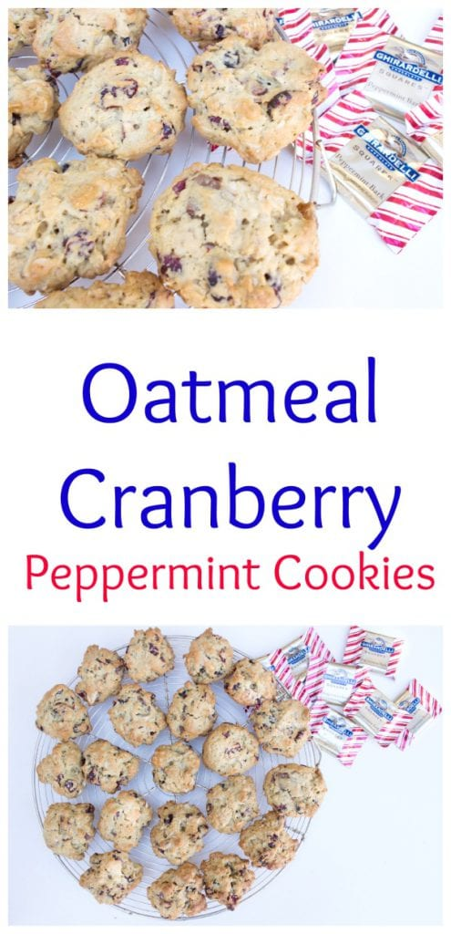 Oatmeal Cranberry Peppermint Cookies