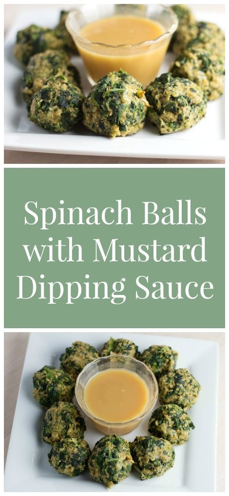 Spinach Balls with Mustard Dipping Sauce - YUMMY! #ADeliciosoThanksgiving