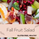fruit mixed together - pomegranates, blood oranges, apples with greek yogurt dressing