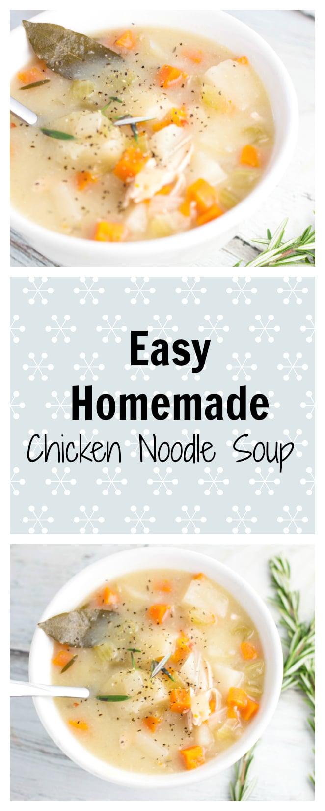 Easy Homemade Chicken Noodle Soup. The perfect winter soup! Krollskorner.com