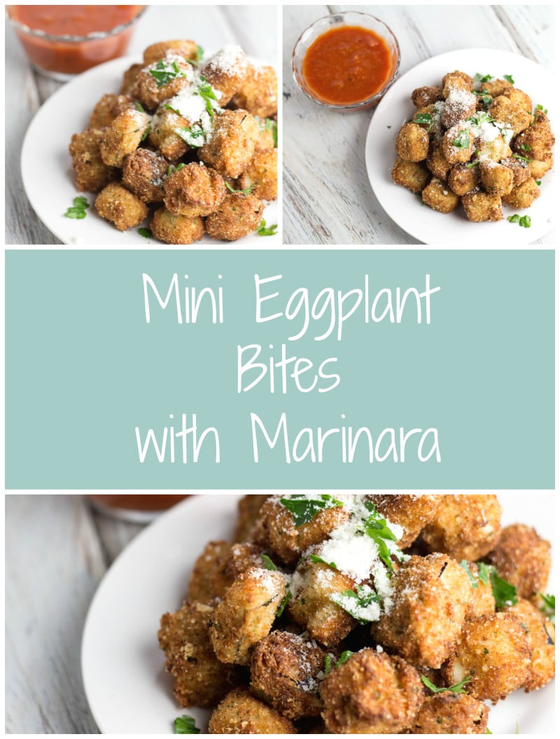 Mini Eggplant Bites w/ Marinara - perfect last minute Super Bowl Appetizer! | Krollskorner.com