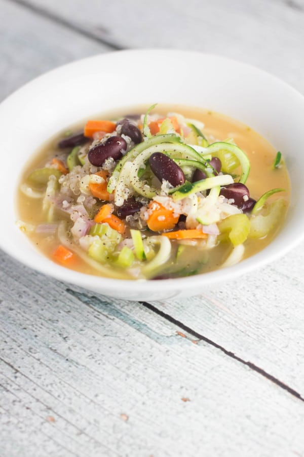 Vegetarian Zoodle Soup, easy way to get your veggies in for the day! | Krollskorner.com