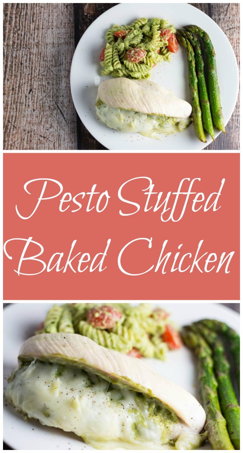 Pesto Stuffed Baked Chicken - an elegant but simple dinner to impress your loved one! | Krollskorner.com