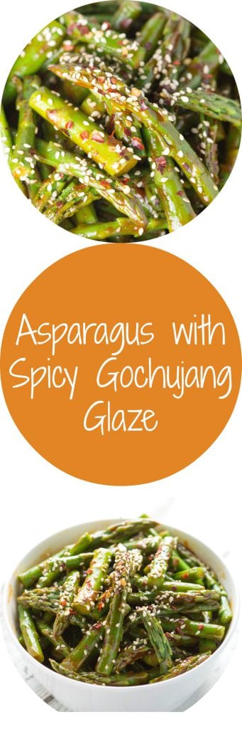 Asparagus with Spicy Gochujang Glaze...new tasty way to enjoy your Spring time veggies! Krollskorner.com