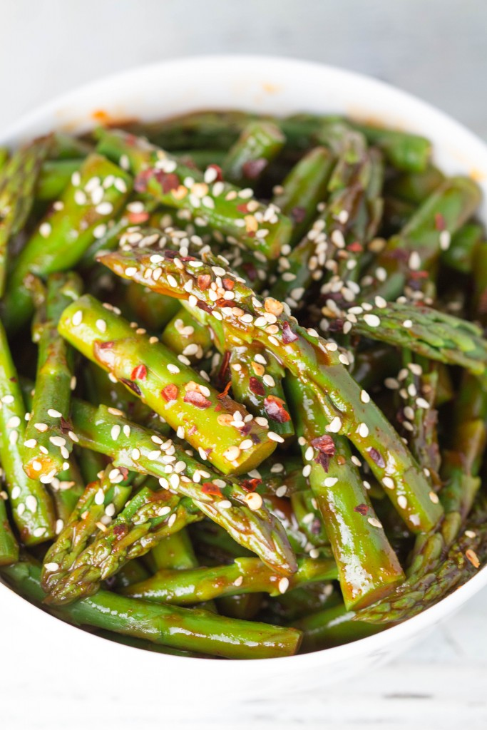 Asparagus with Spicy Gochujang Glaze...new tasty way to enjoy your Spring time veggies! Krollskorner.com