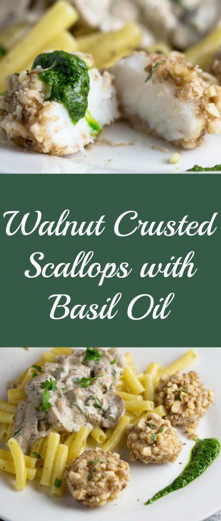 walnut crusted scallops with pesto