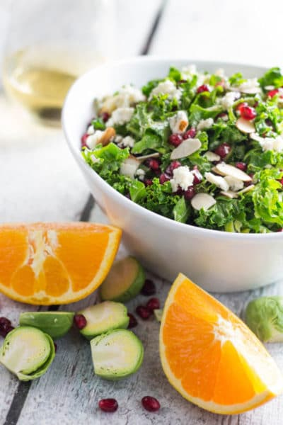 Kale and Brussels Sprouts Salad with CA Almonds! + GIVEAWAY!|Krollskorner.com