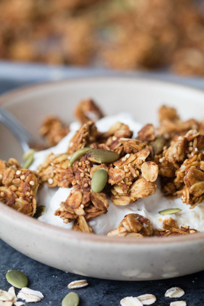 Pumpkin Season Is BACK! It is easy and fun to make homemade granola and you get to control the added sugars too! |Krollskorner.com