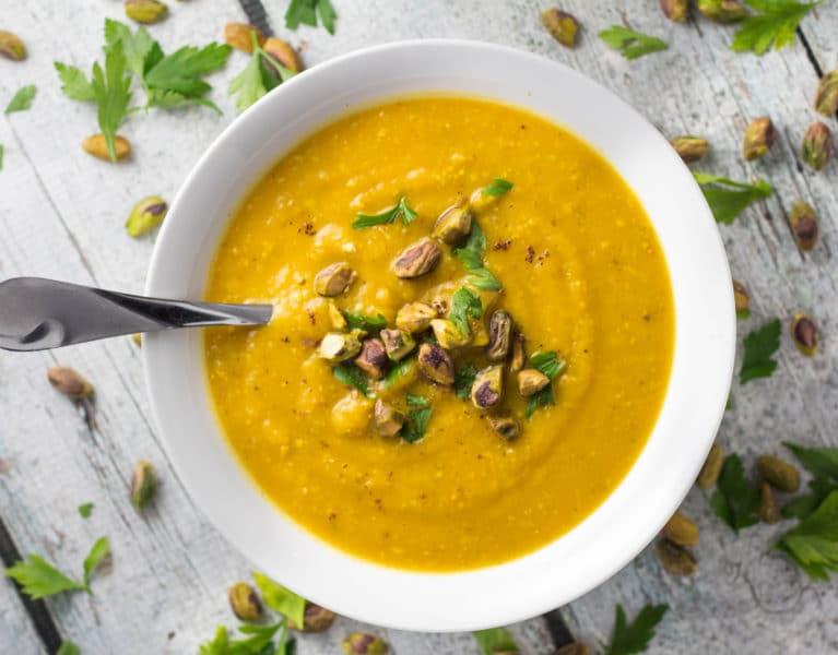 Pistachio Pumpkin Soup - Perfect for Fall! Krollskorner.com
