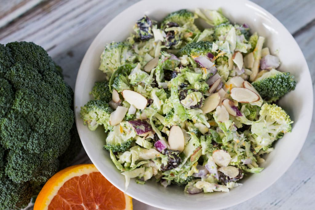 Broccoli, brussels, Greek yogurt...who could want more? Low Fat No labor broccoli salad recipe for the win! |krollskorner.com