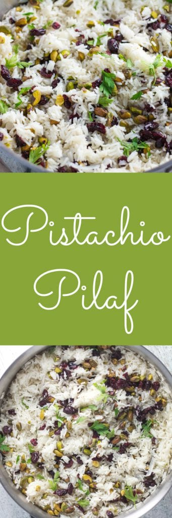 This pistachio pilaf has a perfect flavor combination with the slight sweetness from the dried cranberries and a nice crunch from the pistachios. Krollskorner.com