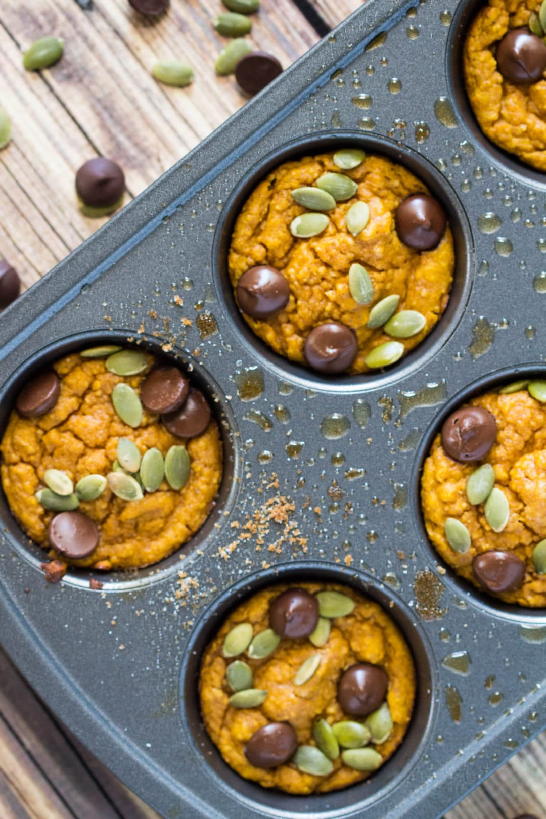 Pumpkin muffins with chocolate chips in a cupcake tin.