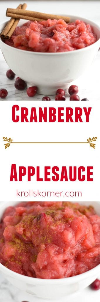 Celebrate #Friendsgiving with cranberries! This cranapplesauce will make your mouth water and your home smell divine! |Krollskorner.com