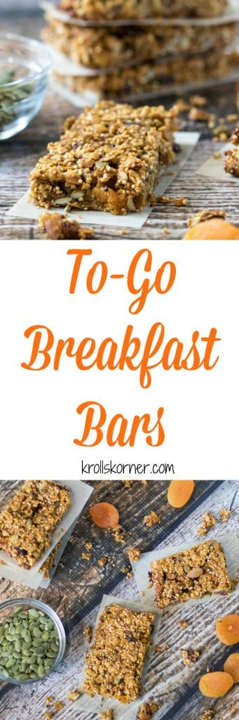 Easy, to-go breakfast bars are a must this time of year. These bars are high in protein and in fiber so they are a perfect way to kick start your day for sustained energy! Krollskorner.com