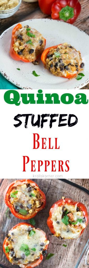 Quinoa Stuffed Bell Peppers for #MeatlessMonday! |Krollskorner.com
