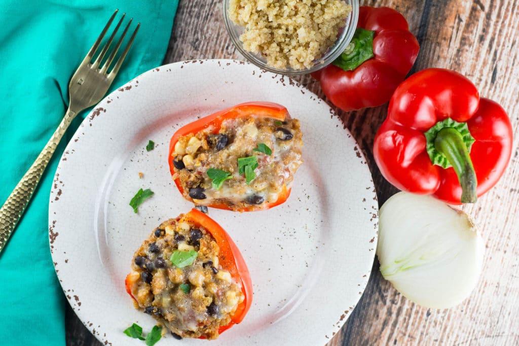 Quinoa Stuffed Bell Peppers for #MeatlessMonday!  Krollskorner.com