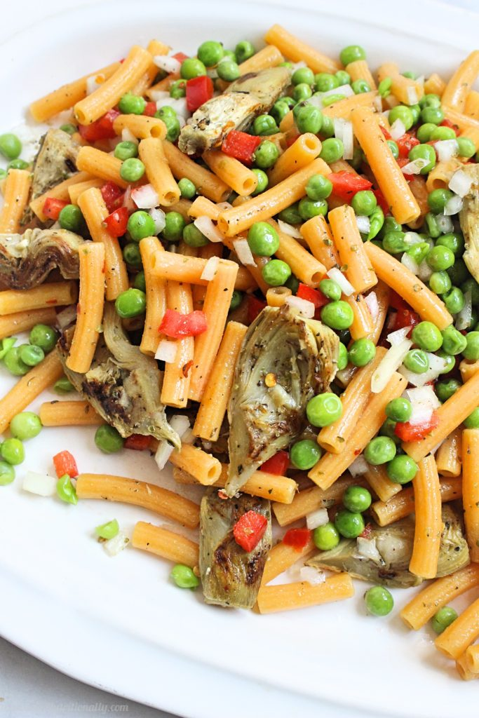 spring pasta salad with veggies