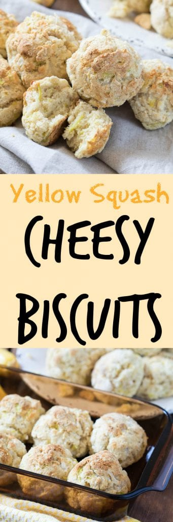 cheesy yellow squash biscuits in a baking dish