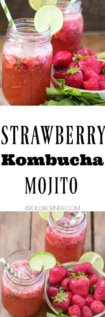 This Strawberry Kombucha Mojito is the refreshing summertime drink you've been searching for! |Krollskorner.com