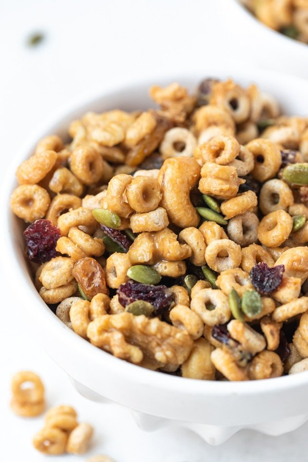 homemade trail mix in a white bowl
