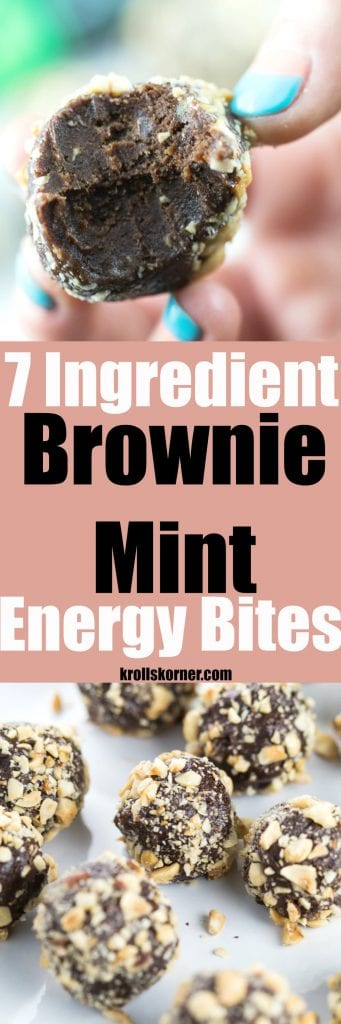 These 7-Ingredient Brownie Mint Energy Bites are a delicious afternoon snack or after dinner treat! | krollskorner.com
