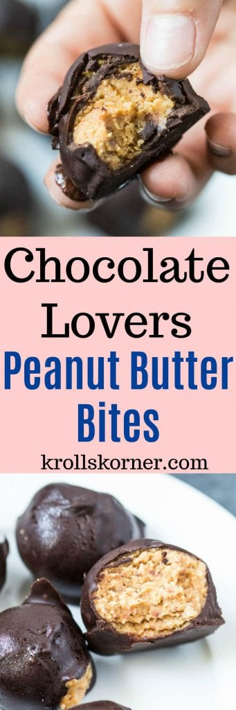 Chocolate Lovers Peanut Butter Bites | #TheRecipeRedux | Krollskorner.com